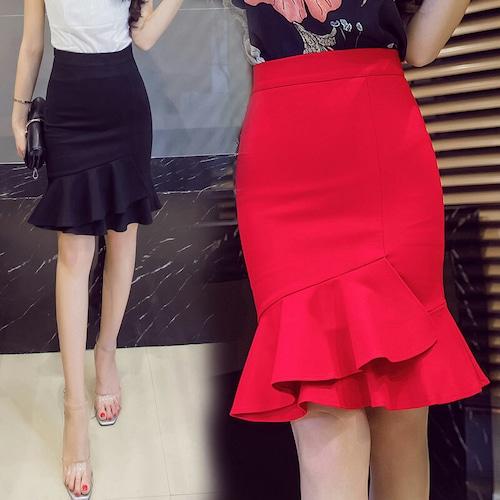 【★送料無料★】スカート 韓国ファッション タイトスカート 裾フリル ハイウエスト ひざ丈 マーメイドスカート レディース DCT-548539342842
