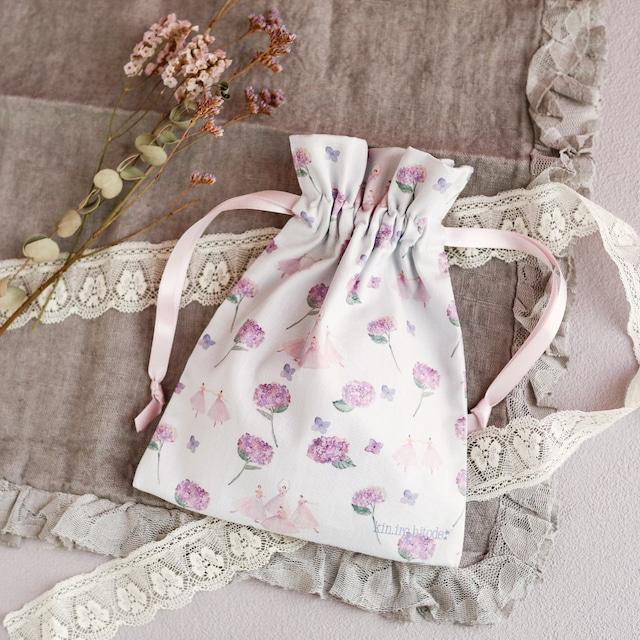 紫陽花のパ・ド・カトルの巾着ポーチ