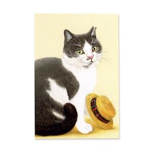 9.ねこと麦わら帽 ポストカード / Cat and Straw Hat Postcard