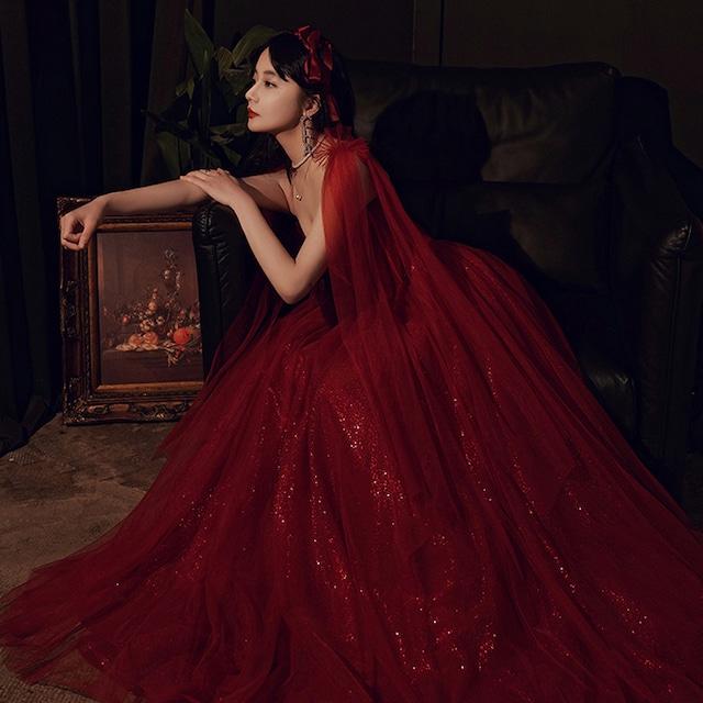 パーティードレス ロングドレス 成人式 演奏会 発表会 結婚式 二次会 プレゼント XS S M L LL 3L 気質良い レトロ 着痩せ エレガント ノースリーブ ジャンパースカート レッド 赤い 編み上げスタイル チュール