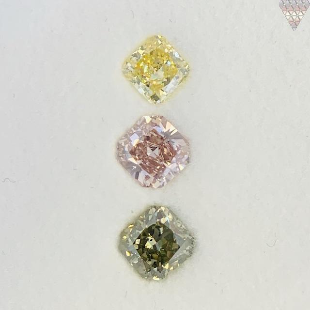 合計  0.98 ct 天然 カラー ダイヤモンド 3 ピース GIA  2 点 付 マルチスタイル / カラー FANCY DIAMOND 【DEF GIA MULTI】