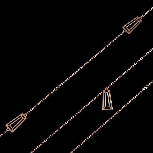 Taper cut long necklace