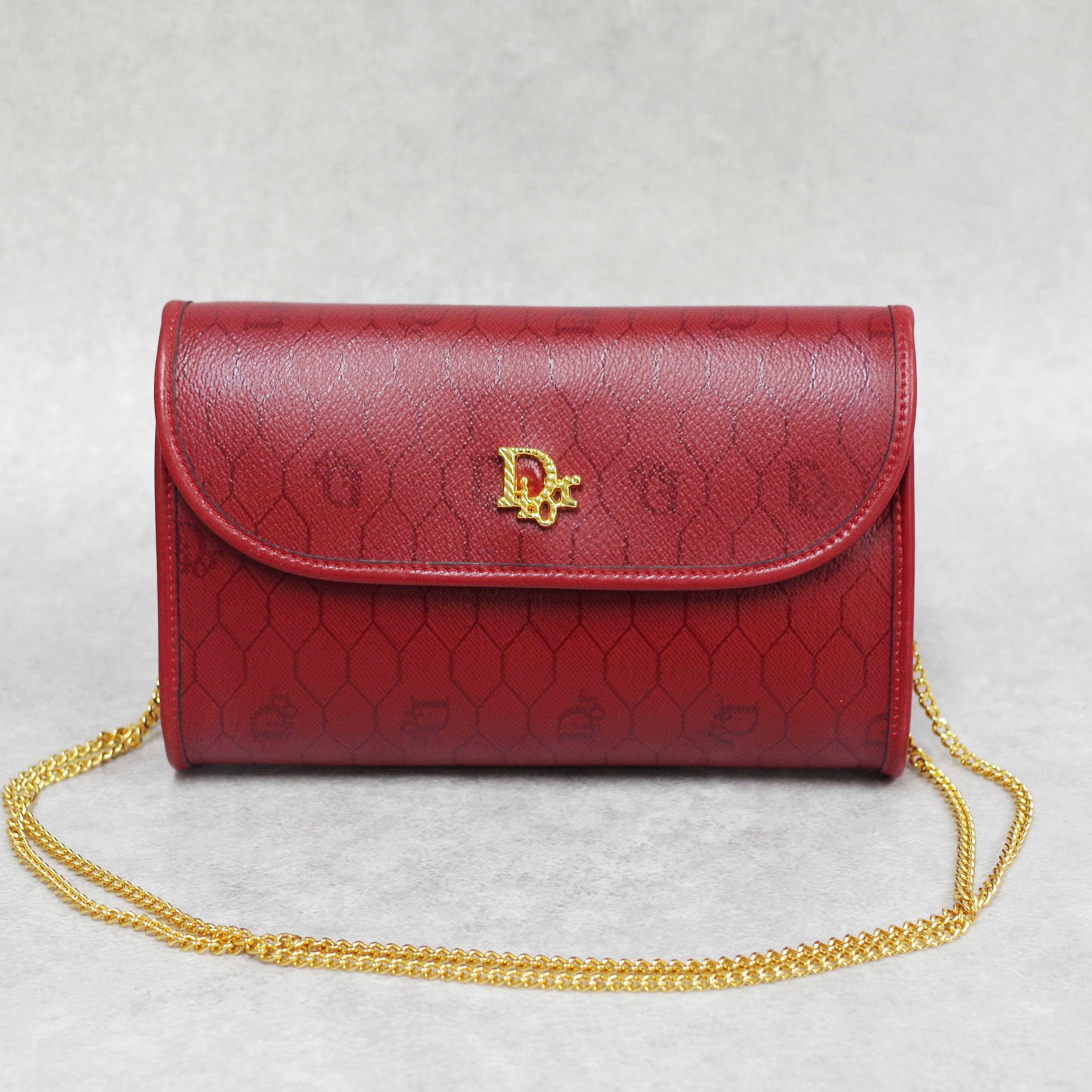 Christian Dior ディオール チェーンショルダーバッグ レッド レザー