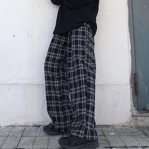 【ボトムス】流行りチェック柄ハイウエストレギュラー丈シェフパンツ29766940