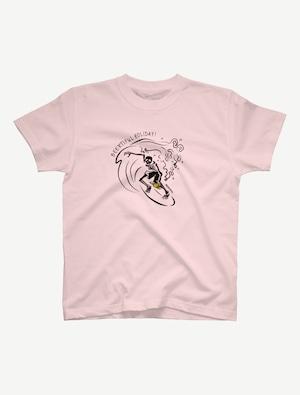 【サーフィンガイコツ】Tシャツ(ベビーピンク)