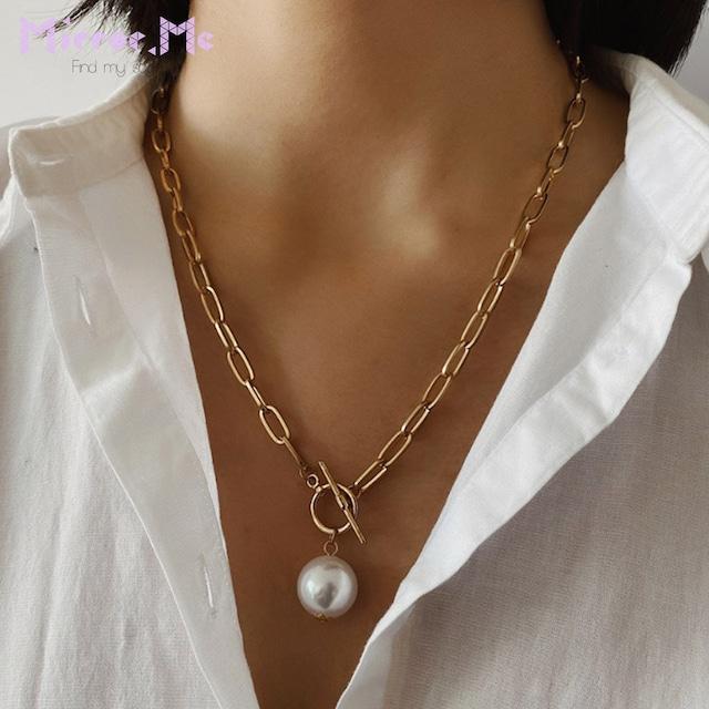 【真珠】一粒パールゴールドチェーンネックレス