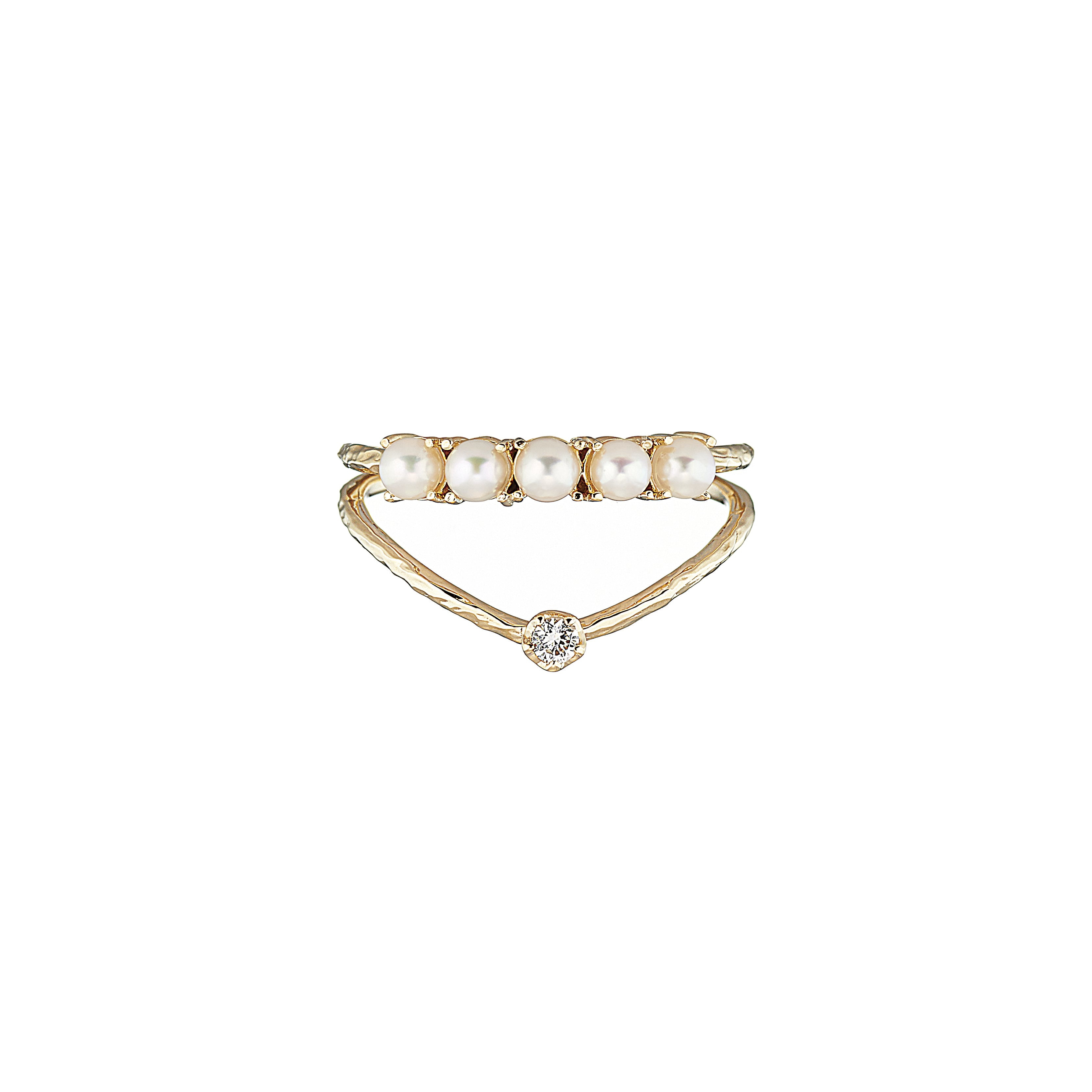 K18 Double Ring with Pearls and a Diamond