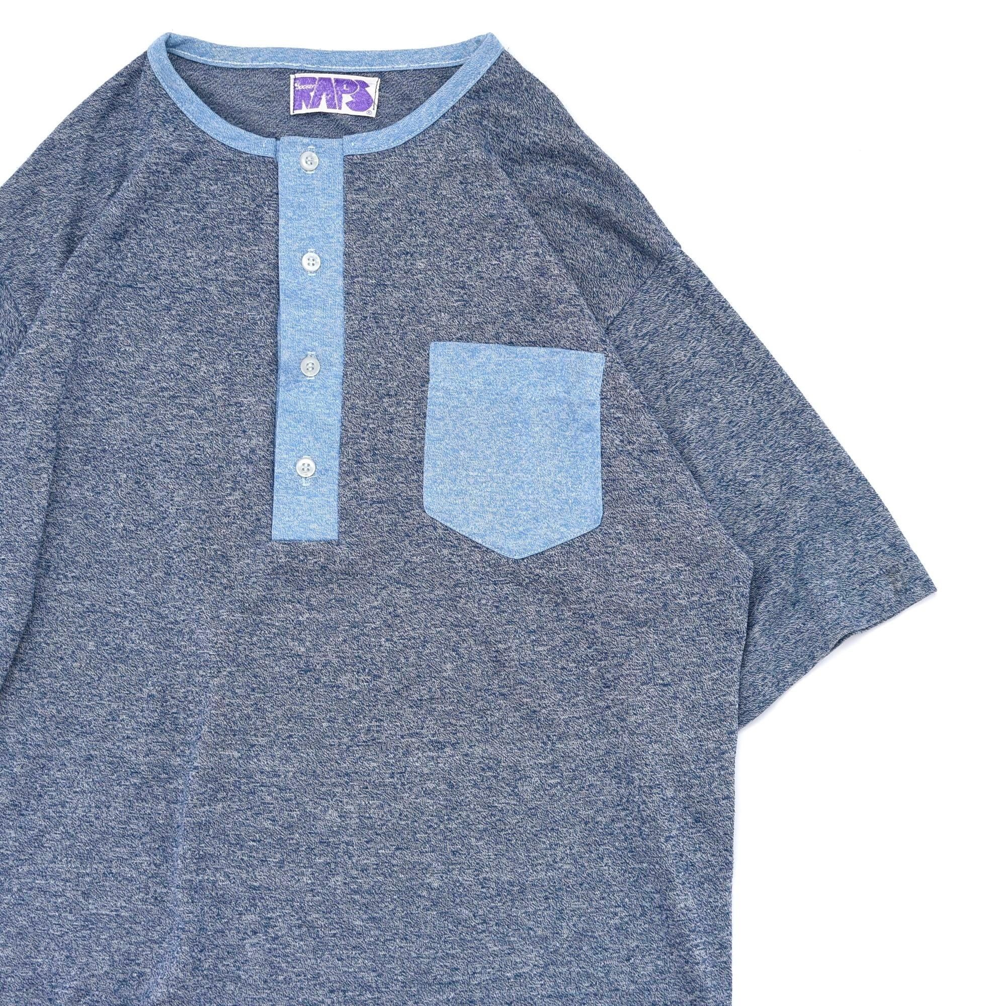 80〜90s vtg Henley neck 2tone T-shirt