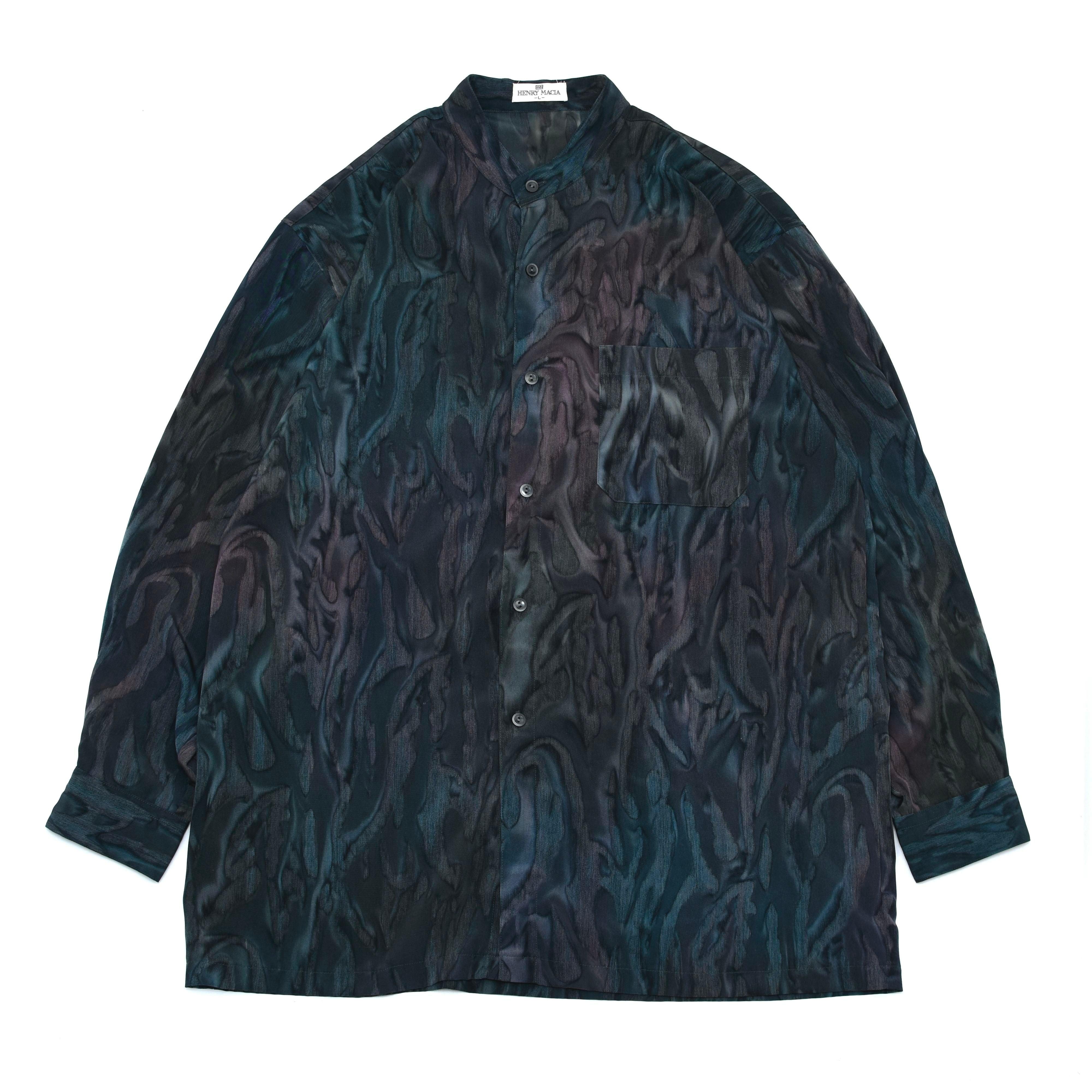 Marbling full pattern stand collar shirt