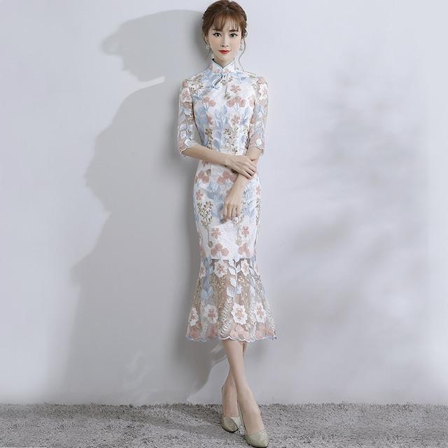 チャイナドレス ワンピース ドレス チャイナ風服 二次会 パーティー 女子会 スタンドネック 五分袖 ロング丈 刺繍入り 改良型チャイナドレス 大きいサイズ XS S M L LL 3L マーメイドライン