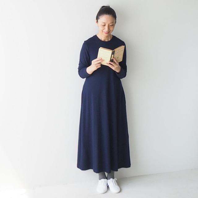 【先行予約販売/9月下旬納品分】Sサイズ・ネイビー「HAND ROOM WOMEN'S」のウォッシャブルウールワンピース