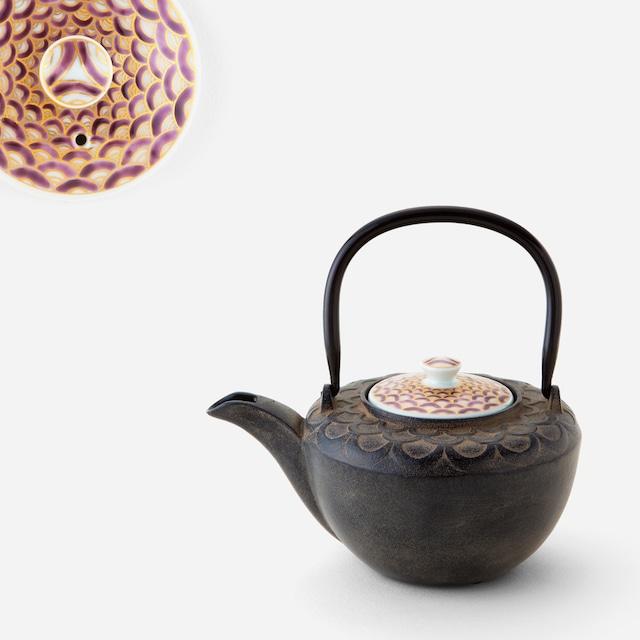 紫青海波鉄瓶急須 南部鉄器×清水焼