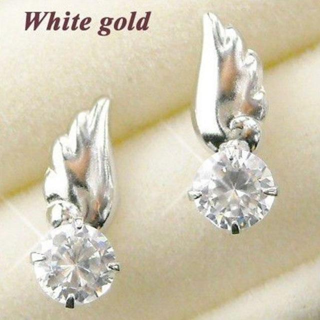 ピアス CZダイヤモンド 一粒 天使の羽 10金ホワイトゴールド レディース