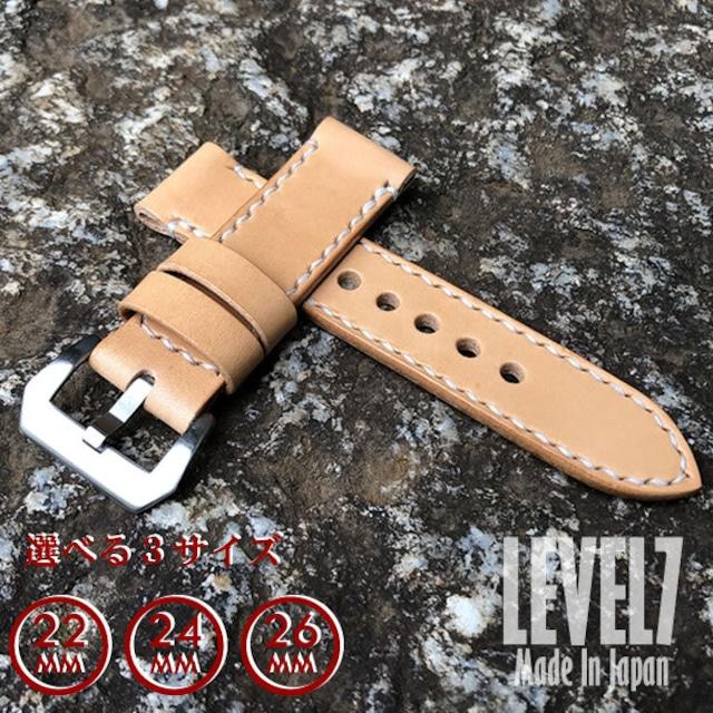 【ラグ幅:22MM/24MM/26MM対応】パネライ スタイル ナチュラル バケッタオイル イタリアンレザー ヌメ革 レザーベルト 腕時計 替えベルト SPT-H002-OIL LEVEL7