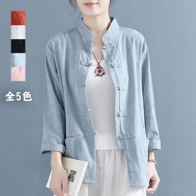 【清裊シリーズ】全5色 チャイナ風トップス シャツ 棉麻 ゆったり 唐装レトロ系 中華服 シンプル