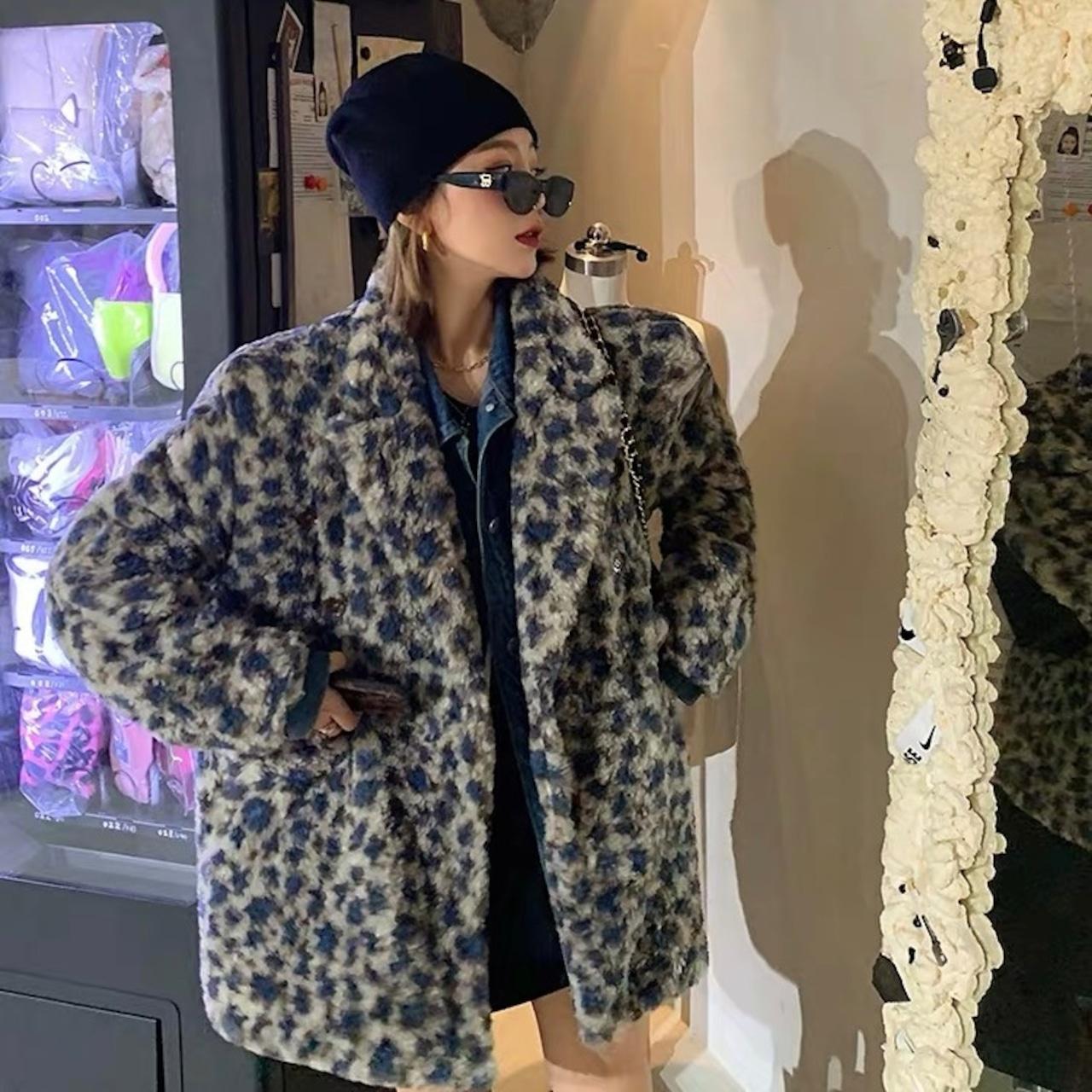 blue leopard fur jacket
