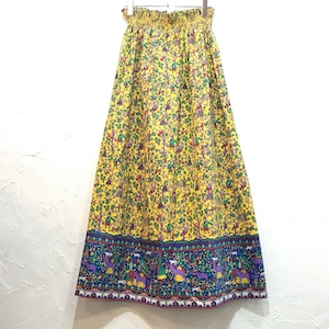 【USED】60's Vintage エスニック 総柄 Aライン ロングスカート
