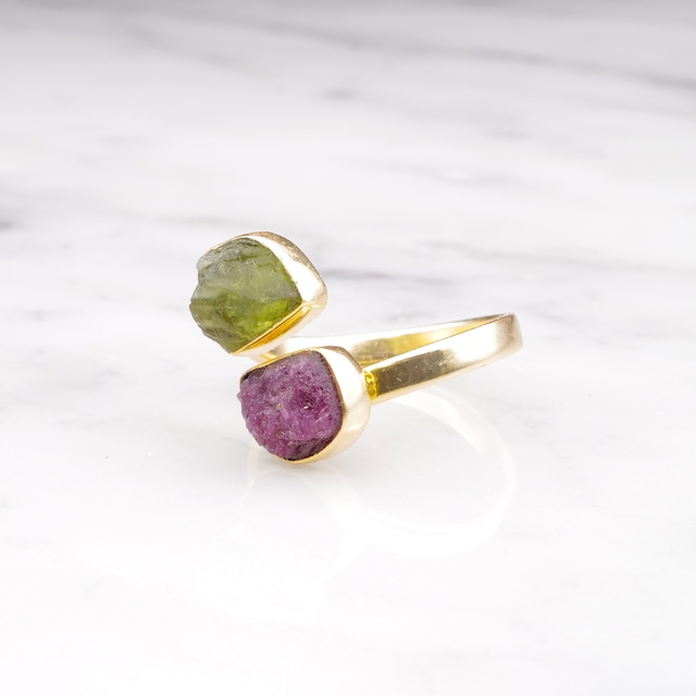 DOUBLE DIFFERENT STONE OPEN RING 008