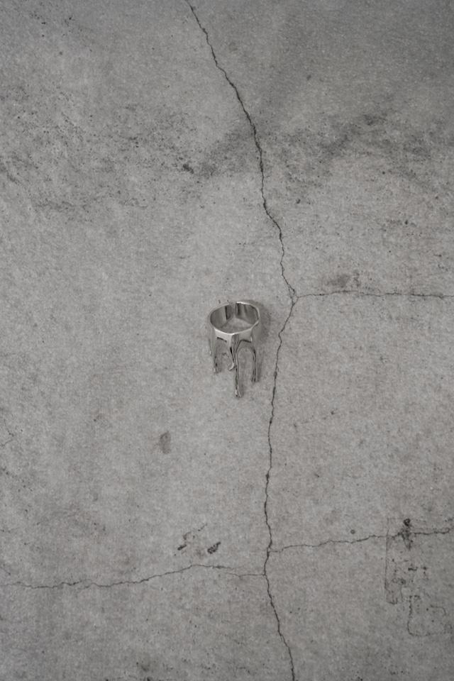 "Addiction  design ring ""tiara drop big"" silver"