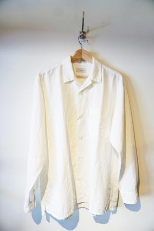 Weather Cloth Open Collar Shirt [Ecru . Moss Green]