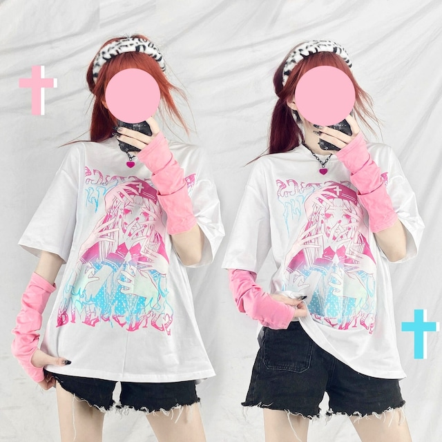 【トップス】ストリート系ファッション半袖アニメプリントTシャツ48079330