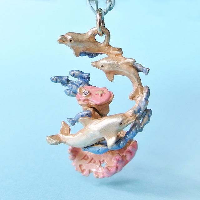 《魚/いるか》 ネックレス オーシャンブルー Palnart Poc パルナートポック イルカ サンゴ 小魚 NE371
