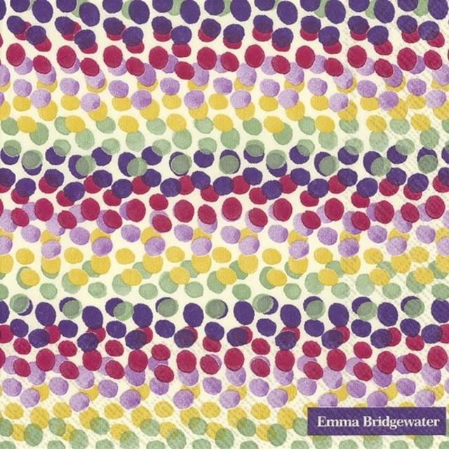 【Emma Bridgewater】バラ売り2枚 ランチサイズ ペーパーナプキン RAINBOW DOT レッド