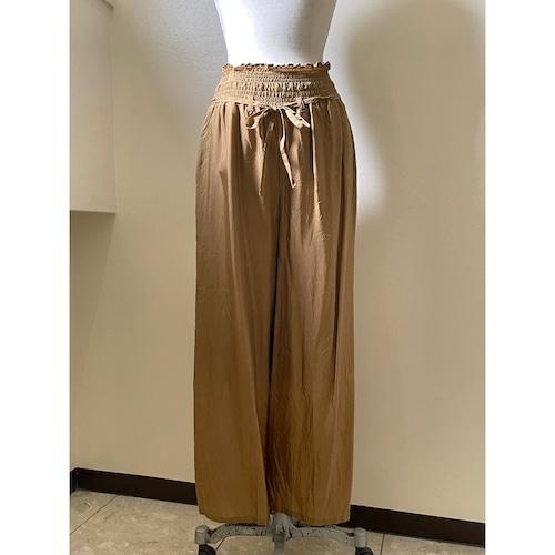 【hippiness】cupro shirring pants (152gold) /【ヒッピネス】キュプラシャーリングパンツ(152ゴールド)