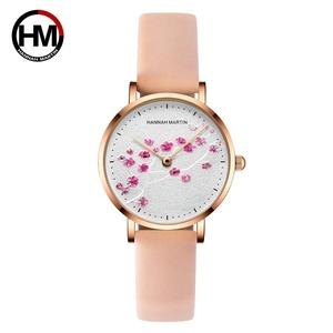 日本クォーツムーブメント10D赤梅本革バンド女性の腕時計レディース腕時計新デザインは、女性の1324PF