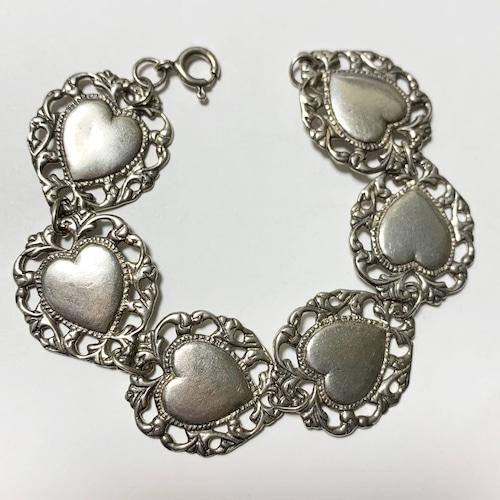 Vintage 925 Silver Heart Link Bracelet