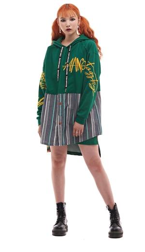 【MAN-G】ウエストシャツ切替英字ロゴ刺繍プルオーバーパーカー