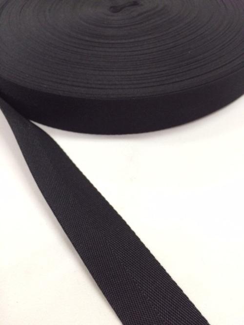 ナイロン 杉綾織(綾テープ) 25mm幅 黒 5mカット