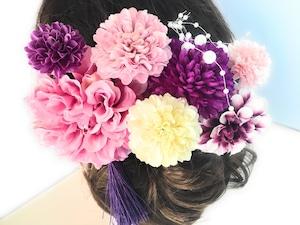 大人可愛い*レトロなピンク紫ダリアの花かんざし9点セット