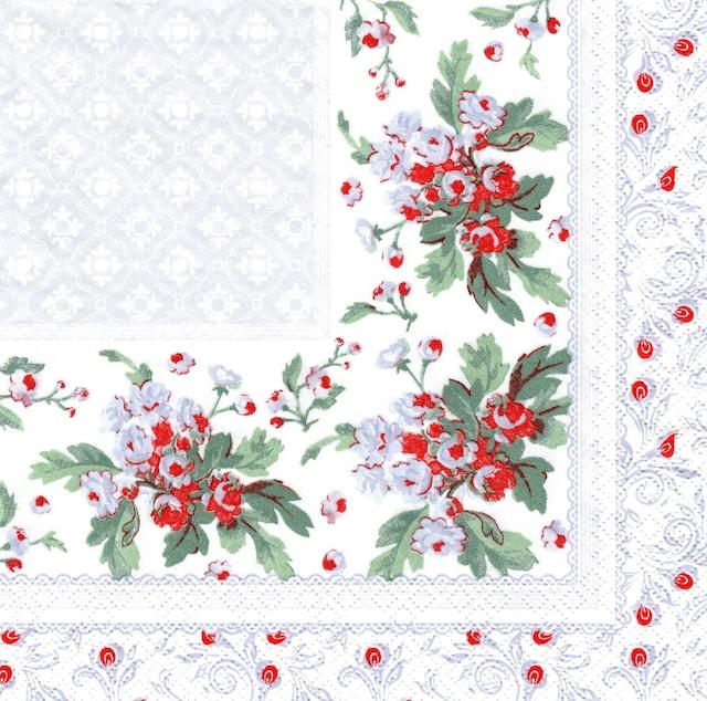 【Maki】バラ売り2枚 ランチサイズ ペーパーナプキン Leaves Ornament Frame with Damasc Pattern  ライトグレー