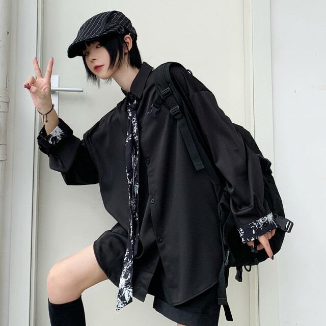 【トップス】カジュアル長袖シングルブレストPOLOネックネクタイ付きシャツ42895685