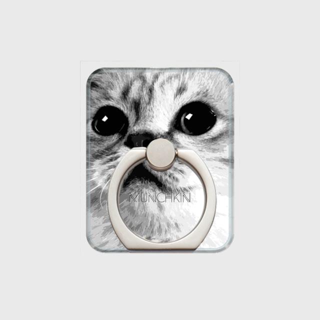 マンチカン おしゃれな猫スマホリング【IMPACT -shirokuro- 】