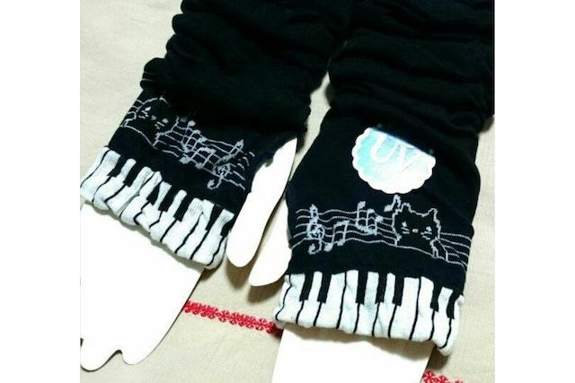 鍵盤と猫のアームカバー(黒)