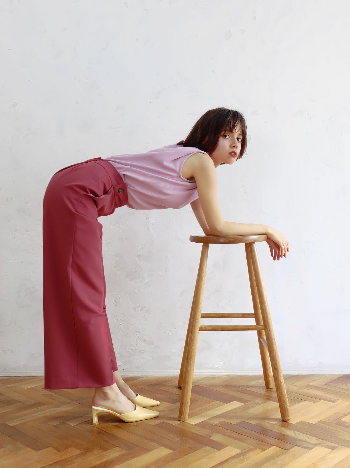 color wide slacks(raspberry)
