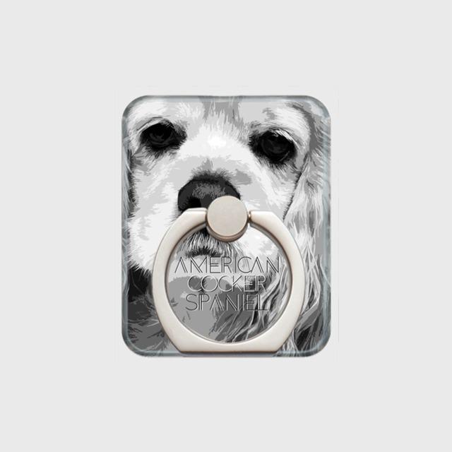 アメリカンコッカースパニエル おしゃれな犬スマホリング【IMPACT -shirokuro- 】