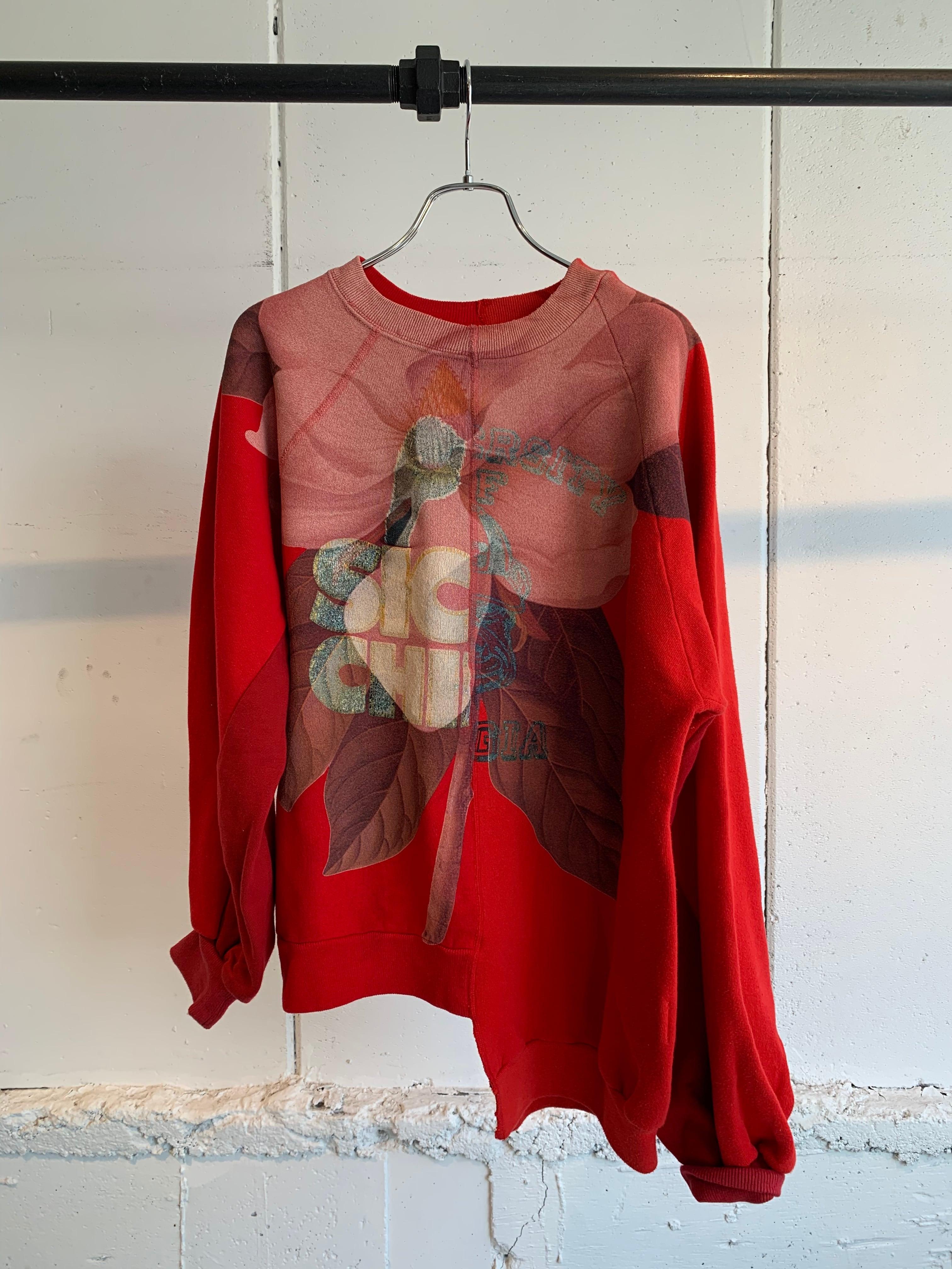 77circa circa make flower over print balloon sleeve sweat top (Red)