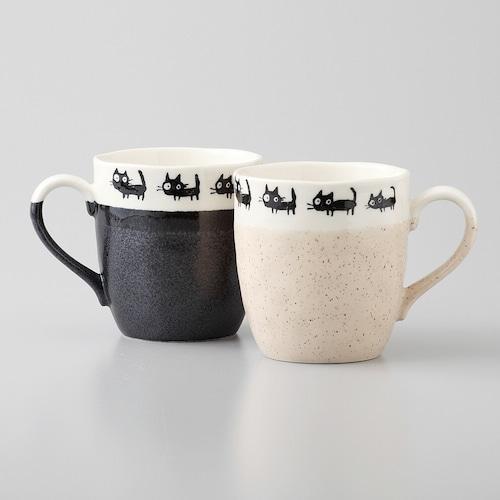 猫マグカップ(美濃焼黒ねこマグ)ペア