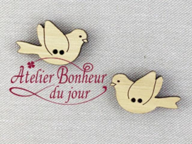フランス製 木製ボタン アトリエ ボヌール ドゥ ジュール 【カップルの鳥・ウッド】