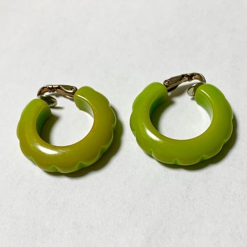 Vintage Light Green Carved Bakelite Hoop Earrings