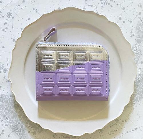 【Rさまお取り置き品】革の菫色チョコ ファスナーミニ財布 (銀の包み紙)+キーホルダー