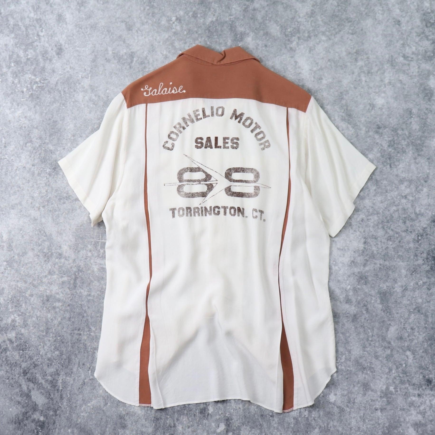 """60年代 """" Service Bowling Shirts """" ボーリングシャツ レーヨン100% 切り替え2トーン チェーン刺繡 メンズM ヴィンテージ 古着 A262"""