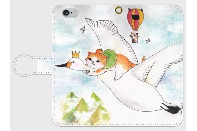 (iPhone用)白鳥と旅猫の手帳型スマホケース