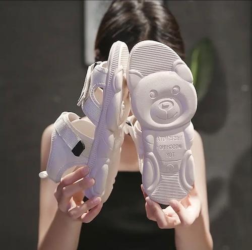 【即納】テディベア カジュアル サンダル (オフホワイト23.0cm)
