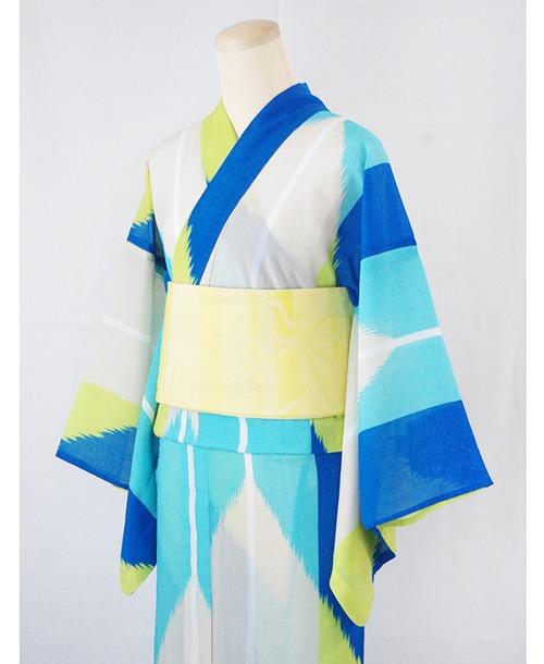 浴衣【矢羽根】青/加花の大人ゆかた