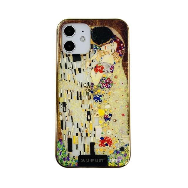 【液体無し】ARTiFY iPhone 12 / 12 Pro メッキTPU スマホケース クリムト キス AJ00635