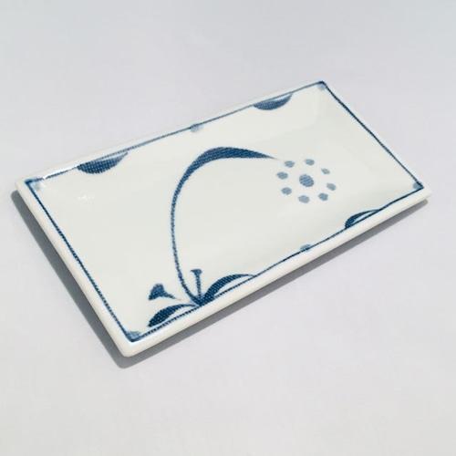【砥部焼/梅山窯】6.7寸長角布目皿(太陽)